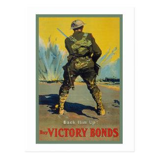 A vitória liga-o para trás acima da propaganda WW1 Cartão Postal