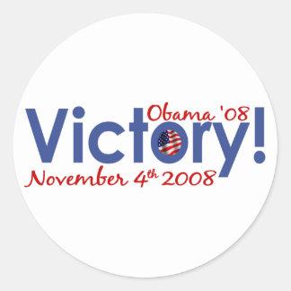 A vitória Obama ganha 2008 Adesivos Em Formato Redondos