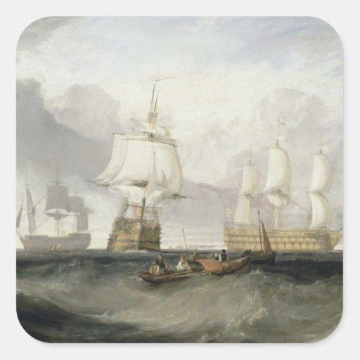 """A """"vitória"""" que retorna de Trafalgar, 1806 (óleo Adesivo Quadrado"""