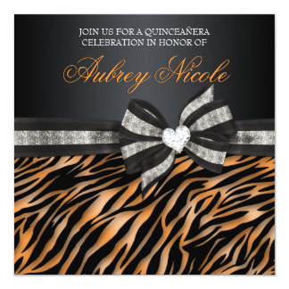 A zebra chique Quinceañera convida com arco Convite Quadrado 13.35 X 13.35cm
