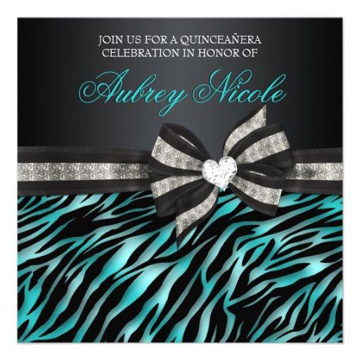 A zebra chique Quinceañera convida com arco Jewele Convite Personalizado