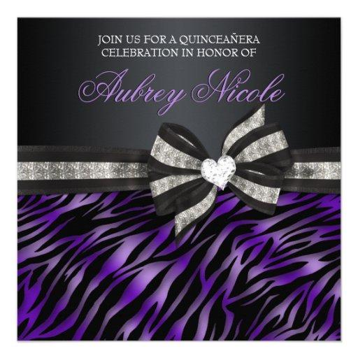 A zebra chique Quinceañera convida com arco Jewele Convites Personalizado