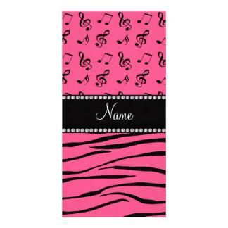 A zebra cor-de-rosa conhecida feita sob encomenda cartão com foto