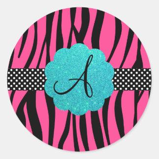 A zebra cor-de-rosa listra o monograma adesivos redondos
