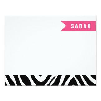 A zebra do rosa preto e quente listra cartões de