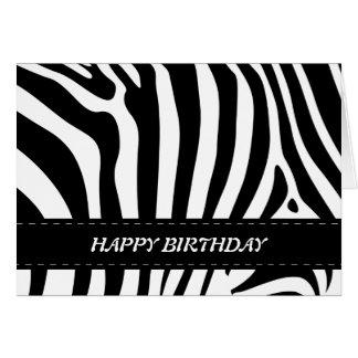 A zebra listra o cartão preto & branco do feliz