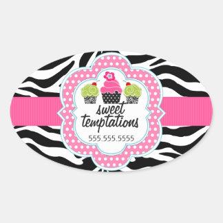 A zebra listra o negócio da padaria do cupcake adesivo oval