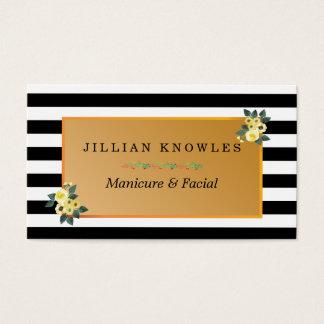 A zebra listra todo o Manicure floral da cor Cartão De Visitas