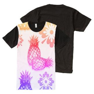 Abacaxi do arco-íris & floral por Aleta Camisetas Com Impressão Frontal Completa