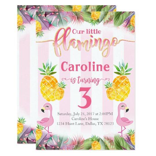 Abacaxi do convite de aniversário do flamingo | Zazzle.com.br