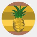Abacaxi dourado adesivo redondo