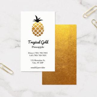 Abacaxi dourado da foto da folha cartão de visitas