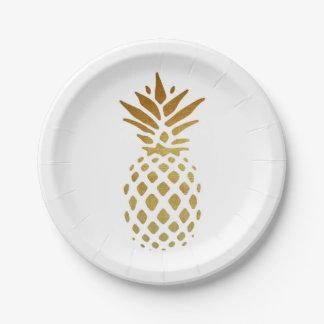 Abacaxi dourado, fruta no ouro prato de papel