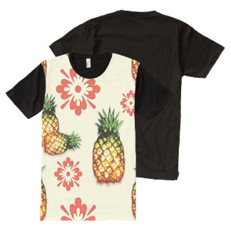 Abacaxi & floral vermelho por Aleta Camisetas Com Impressão Frontal Completa