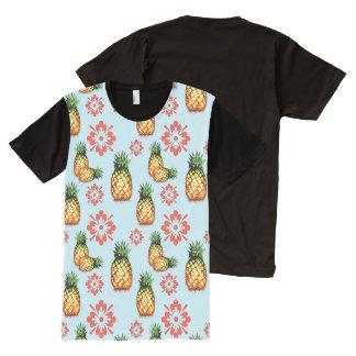Abacaxi & impressão floral vermelho no azul camisetas com impressão frontal completa