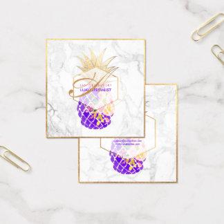 Abacaxis de PixDezines Aloha/ouro/mármore Cartão De Visitas Quadrado