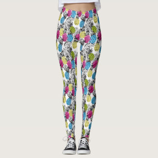 Abacaxis do pop art e folhas de palmeira 2 legging