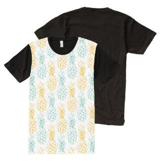 abacaxis no fundo branco camisetas com impressão frontal completa