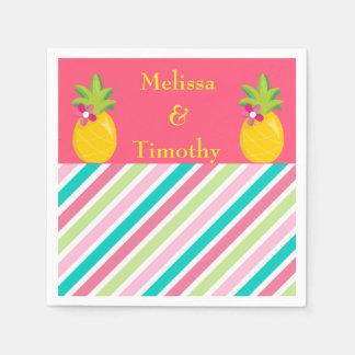Abacaxis no fundo cor-de-rosa guardanapo de papel