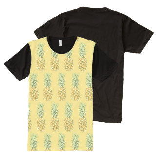 Abacaxis tropicais camisetas com impressão frontal completa