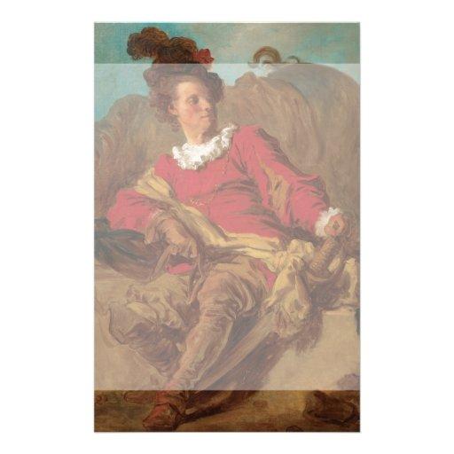 Abade vestido como o espanhol por Fragonard Panfletos Personalizados