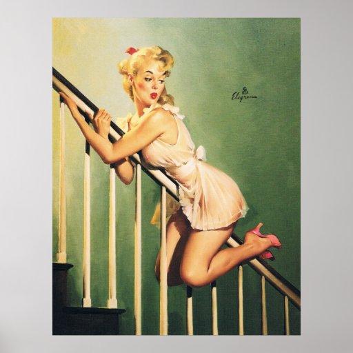 Abaixo das escadas - menina Pin-acima retro Impressão