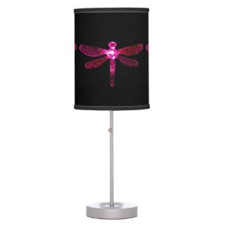 Abajur Candeeiro de mesa cor-de-rosa da libélula