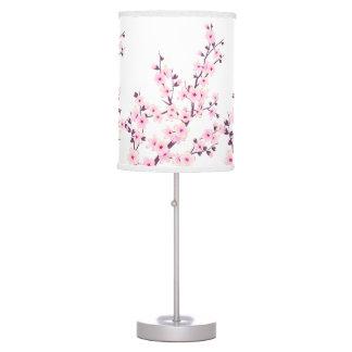 Abajur Candeeiro de mesa floral das flores de cerejeira