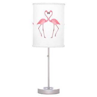 Abajur De Mesa Amor cor-de-rosa bonito dos flamingos