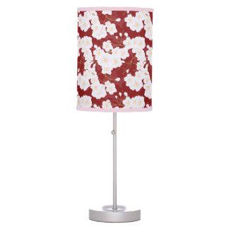 Abajur De Mesa Flores de Sakura no candeeiro de mesa vermelho