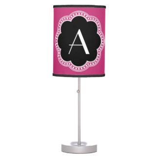 Abajur De Mesa Inicial floral do monograma da beira do estilo do