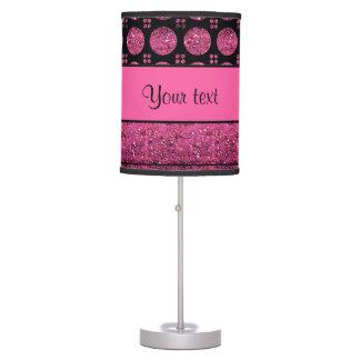 Abajur De Mesa Listras do rosa quente e pontos do brilho