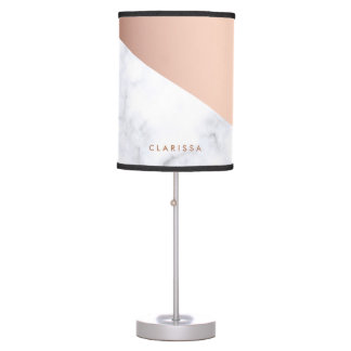 Abajur De Mesa ouro cor-de-rosa do mármore branco geométrico