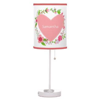 Abajur De Mesa Seus nomes em lâmpadas/máscaras de um coração