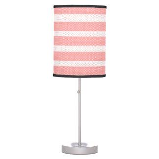 Abajur De Mesa Teste padrão cor-de-rosa e branco das listras