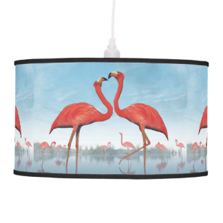 Abajur De Teto Corte dos flamingos - 3D rendem