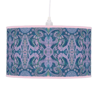 Abajur De Teto Curvas & Lotuses, floral abstrato, lavanda & azul