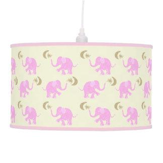 Abajur De Teto Elefantes cor-de-rosa do bebê com estrelas &