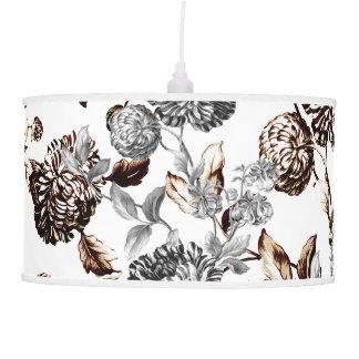 Abajur De Teto Floral botânico do vintage preto & branco & de