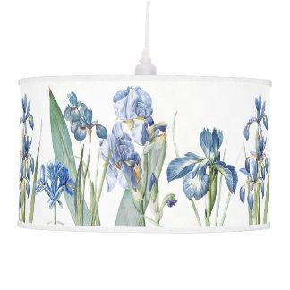 Abajur De Teto Flores azuis botânicas da íris de Redoute que