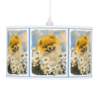Abajur De Teto Pomeranian nas margaridas que pintam - arte