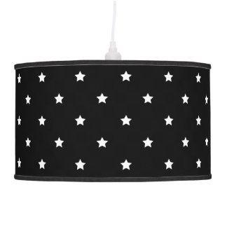 Abajur De Teto Teste padrão de estrelas preto e branco