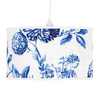 Abajur De Teto Vintage branco & azul Toile floral botânico