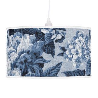 Abajur De Teto Vintage Toile floral botânico do azul de índigo