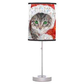 Abajur gato de Papai Noel - colagem do gato - gatinho -