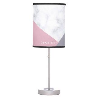 Abajur geométrico roxo de mármore branco elegante do rosa