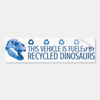 Abastecido por dinossauros do reciclado - azul adesivo para carro