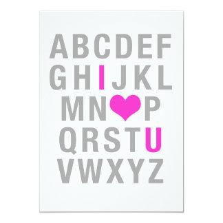 ABC - amor de I (coração) você (o cartão dos Convite 12.7 X 17.78cm