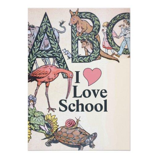 ABC eu amo a escola Convites Personalizados