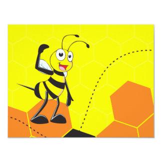 Abelha amarela bonito que salta Hurray Hoorah Convite 10.79 X 13.97cm